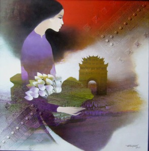 Lady in Purple Dress with Lotus Flowers