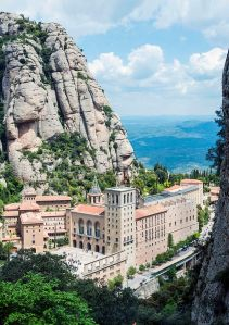 Abbey of Montserrat seen from the Funicular de Sant Joan